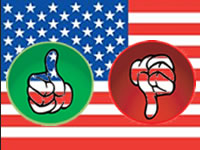 Thumbs up and down symbols with US flag as backdrop